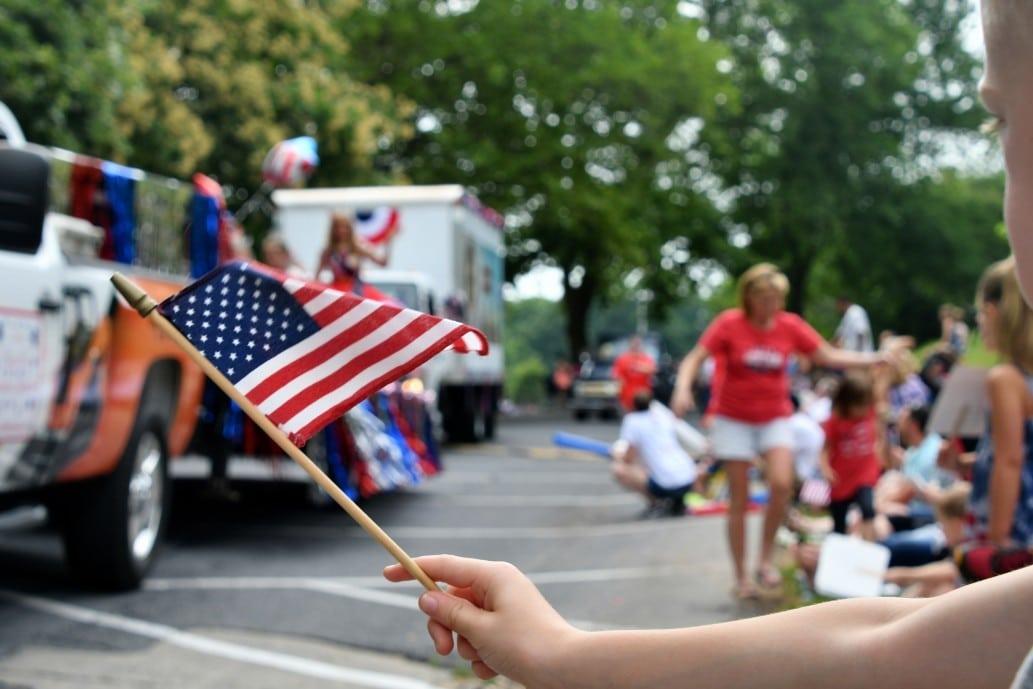 flag at 4th of July parade