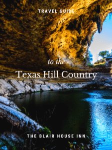 "picture of hamilton pool with text ""travel guide to the texas hill country"" on top"
